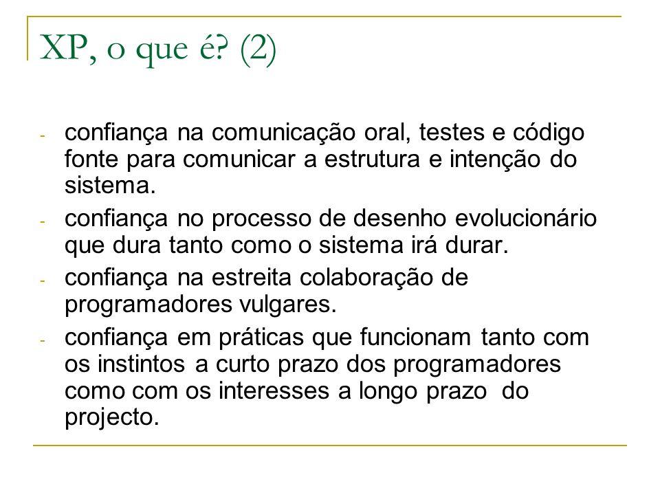 XP, o que é? (2) - confiança na comunicação oral, testes e código fonte para comunicar a estrutura e intenção do sistema. - confiança no processo de d