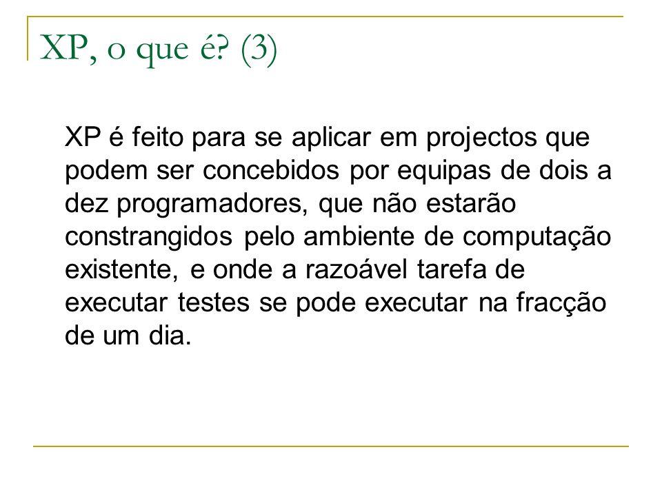 XP, o que é? (3) XP é feito para se aplicar em projectos que podem ser concebidos por equipas de dois a dez programadores, que não estarão constrangid