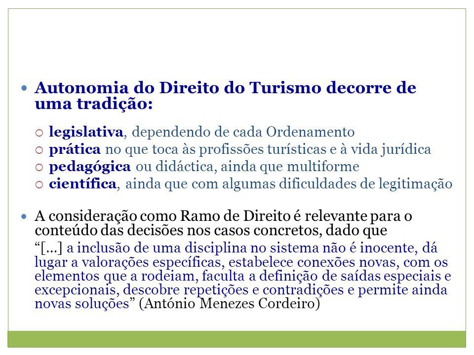 Autonomia do Direito do Turismo decorre de uma tradição: legislativa, dependendo de cada Ordenamento prática no que toca às profissões turísticas e à