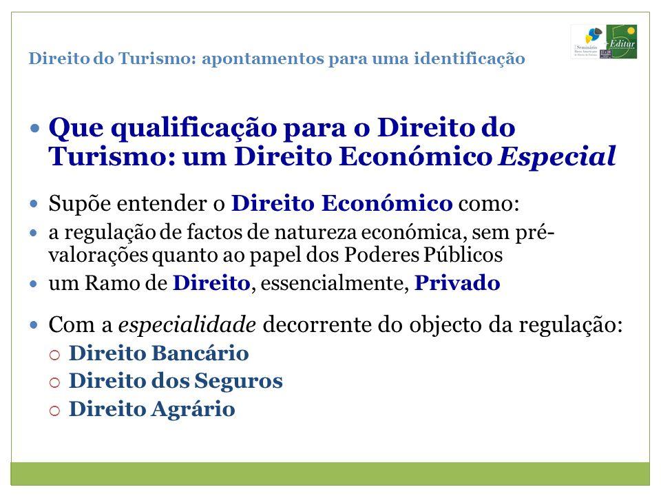 Direito do Turismo: apontamentos para uma identificação Que qualificação para o Direito do Turismo: um Direito Económico Especial Supõe entender o Dir