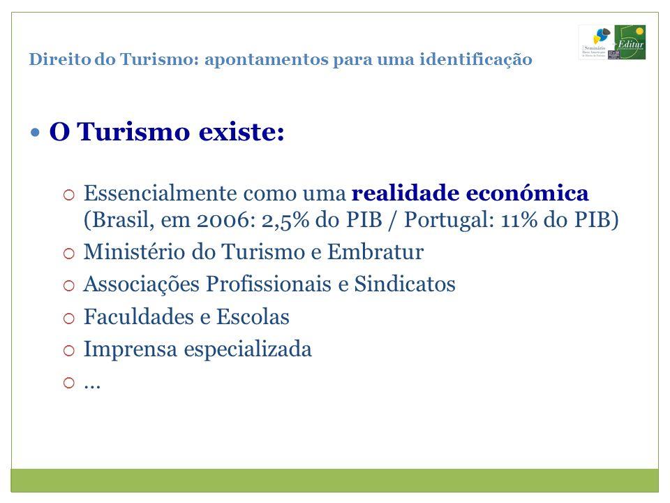 Direito do Turismo: apontamentos para uma identificação O Turismo existe: Essencialmente como uma realidade económica (Brasil, em 2006: 2,5% do PIB /