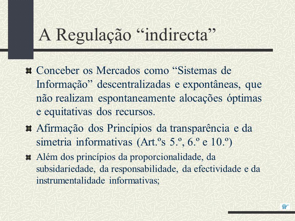 A Regulação indirecta Conceber os Mercados como Sistemas de Informação descentralizadas e expontâneas, que não realizam espontaneamente alocações ópti