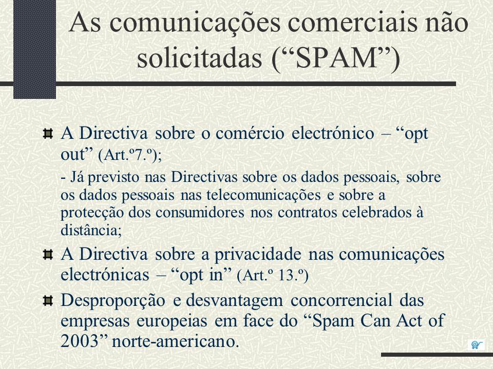 As comunicações comerciais não solicitadas (SPAM) A Directiva sobre o comércio electrónico – opt out (Art.º7.º); - Já previsto nas Directivas sobre os