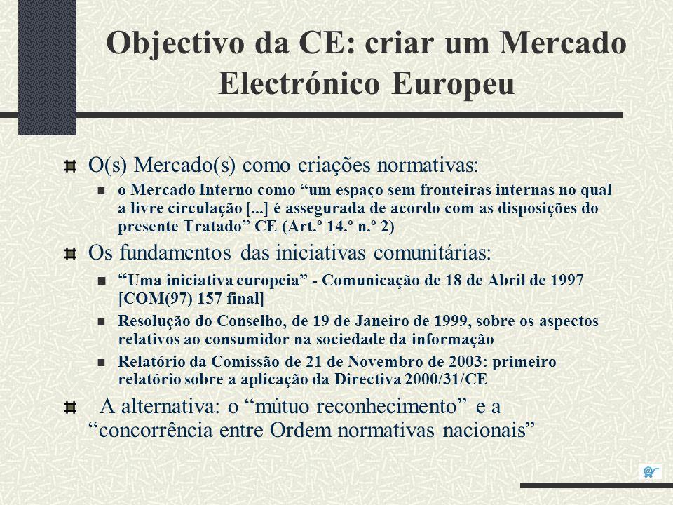 O Enquadramento Normativo Directiva 2000/31/CE, do Parlamento Europeu e do Conselho, de 8 de Junho de 2000, relativa a certos aspectos legais da sociedade da informação, em especial do comércio electrónico, no mercado interno (Directiva sobre o comércio electrónico); Directiva 1999/93/CE, do Parlamento Europeu e do Conselho, de 13 de Dezembro, relativa às assinaturas electrónicas; Directiva 97/7/CE, do Parlamento Europeu e do Conselho, de 20 de Maio de 1997, relativa à protecção dos consumidores em matéria de contratos celebrados à distância; Directiva 2002/65/CE, do Parlamento Europeu e do Conselho, de 23 de Setembro de 2002, relativa à comercialização à distância de serviços financeiros prestados a consumidores;