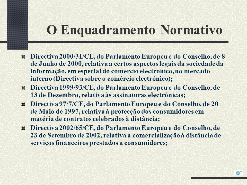 O Enquadramento Normativo Directiva 2000/31/CE, do Parlamento Europeu e do Conselho, de 8 de Junho de 2000, relativa a certos aspectos legais da socie