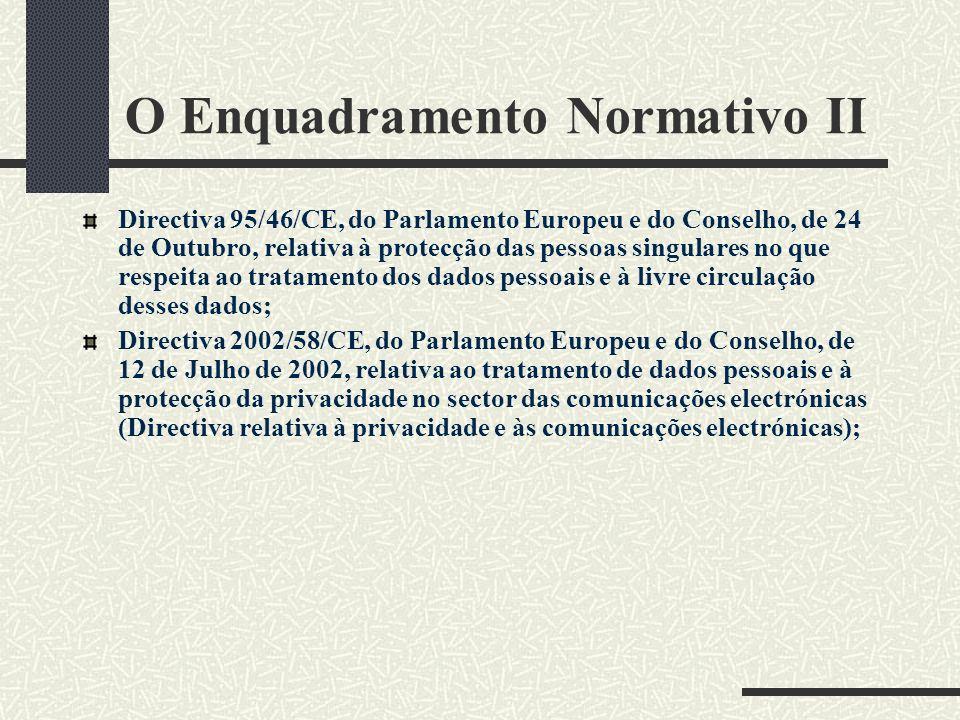 O Enquadramento Normativo II Directiva 95/46/CE, do Parlamento Europeu e do Conselho, de 24 de Outubro, relativa à protecção das pessoas singulares no