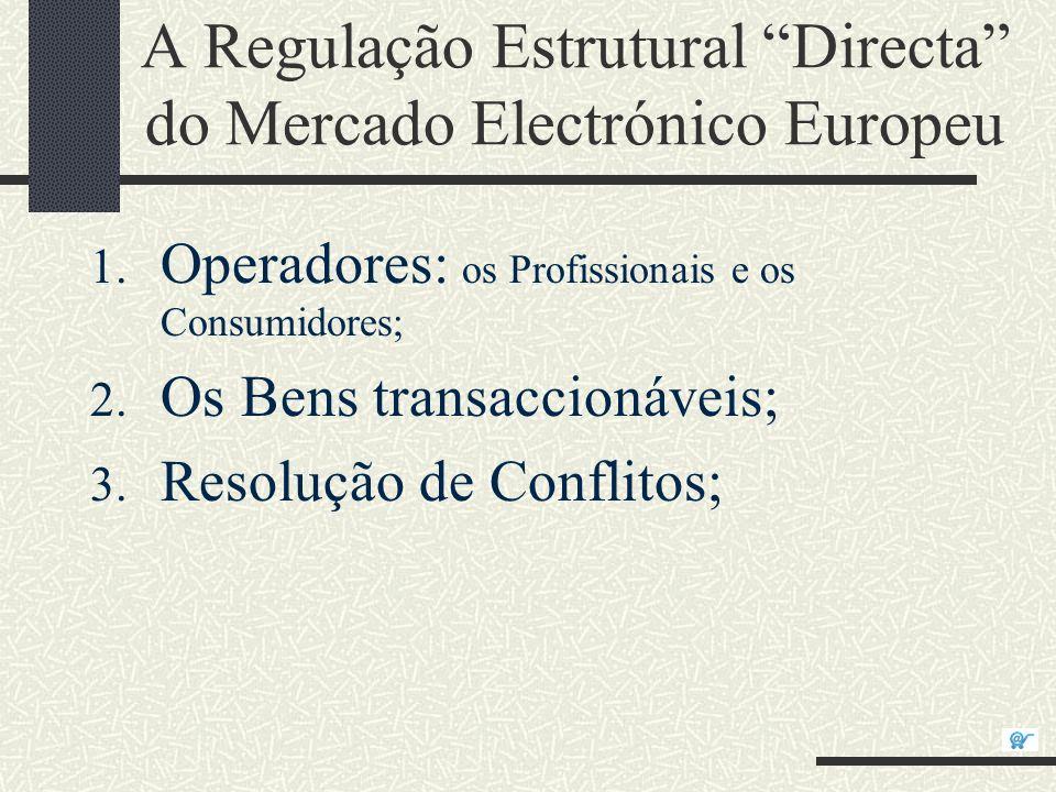 A Regulação Estrutural Directa do Mercado Electrónico Europeu 1. Operadores: os Profissionais e os Consumidores; 2. Os Bens transaccionáveis; 3. Resol
