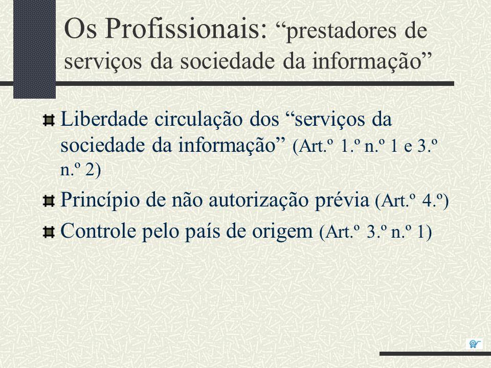 Os Profissionais: prestadores de serviços da sociedade da informação Liberdade circulação dos serviços da sociedade da informação (Art.º 1.º n.º 1 e 3