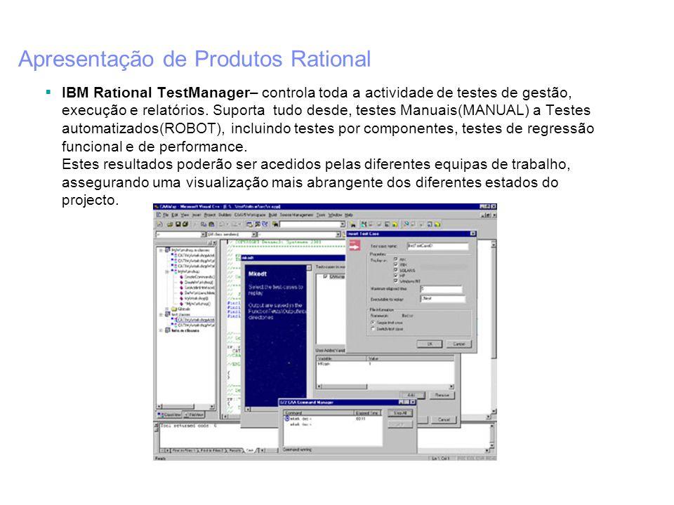 Apresentação de Produtos Rational IBM Rational TestManager– controla toda a actividade de testes de gestão, execução e relatórios. Suporta tudo desde,