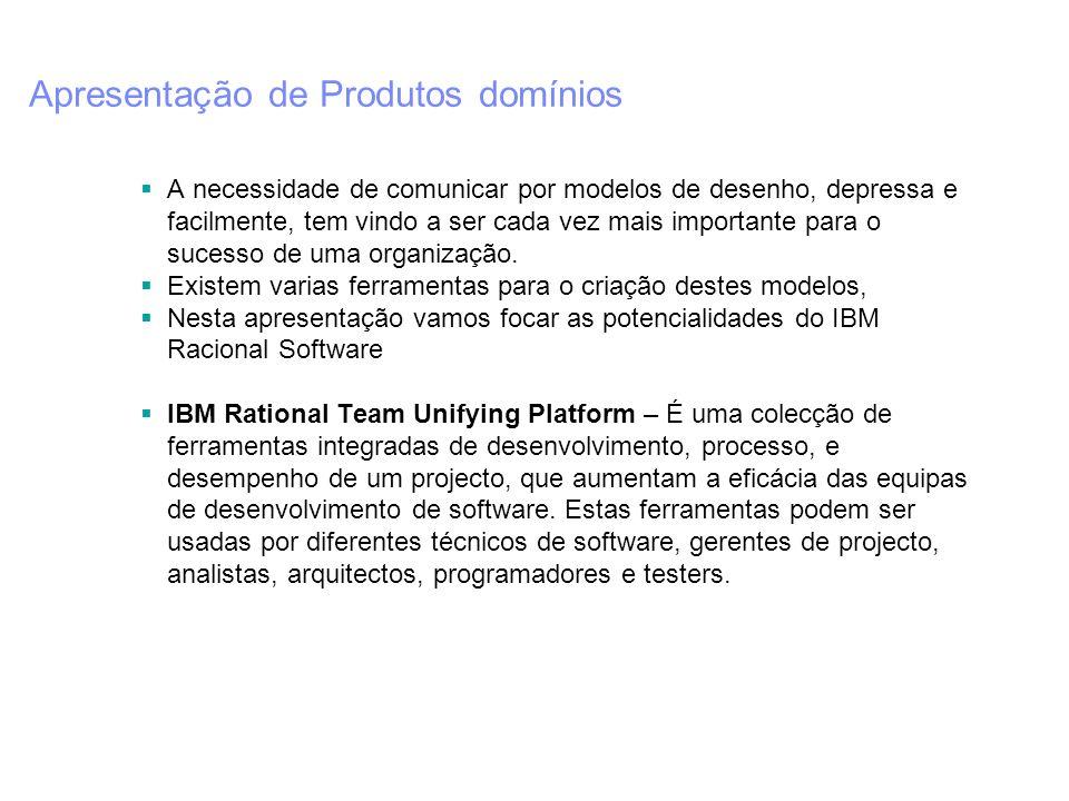 Apresentação de Produtos Rational IBM Rational RequisitePro (Gestor de Requisitos) - Os colaboradores do projecto terão acesso ao estado dos requisitos actualizados do projecto