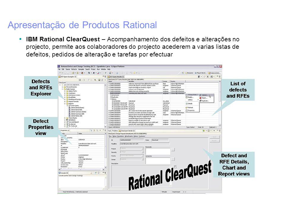 Apresentação de Produtos Rational IBM Rational ClearQuest – Acompanhamento dos defeitos e alterações no projecto, permite aos colaboradores do project