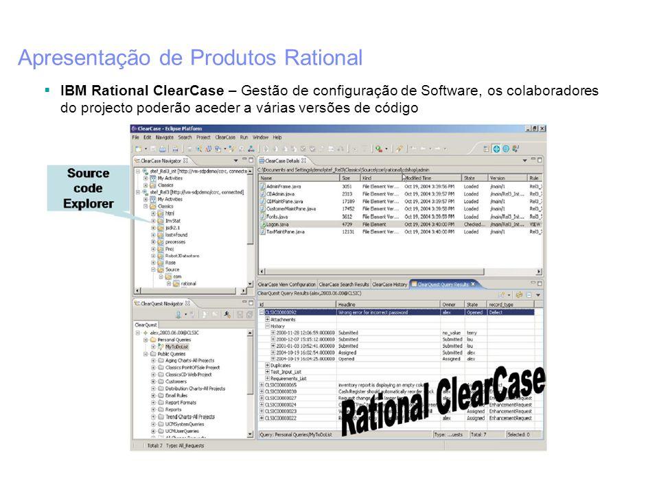 Apresentação de Produtos Rational IBM Rational ClearCase – Gestão de configuração de Software, os colaboradores do projecto poderão aceder a várias ve