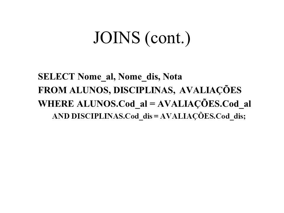 SELECT Nome_al, Nome_dis, Nota FROM ALUNOS, DISCIPLINAS, AVALIAÇÕES WHERE ALUNOS.Cod_al = AVALIAÇÕES.Cod_al AND DISCIPLINAS.Cod_dis = AVALIAÇÕES.Cod_d