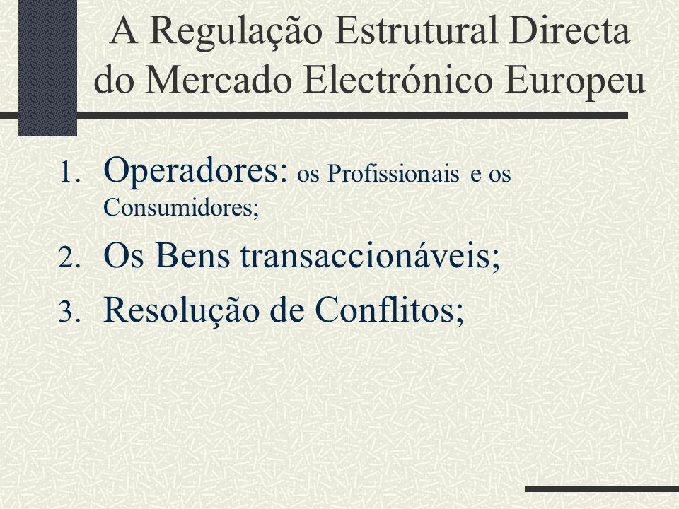 Os Profissionais: prestadores de serviços da sociedade da informação Liberdade circulação dos serviços da sociedade da informação (Art.º 1.º n.º 1 e 3.º n.º 2) Princípio de não autorização prévia (Art.º 4.º) Controle pelo país de origem (Art.º 3.º n.º 1)