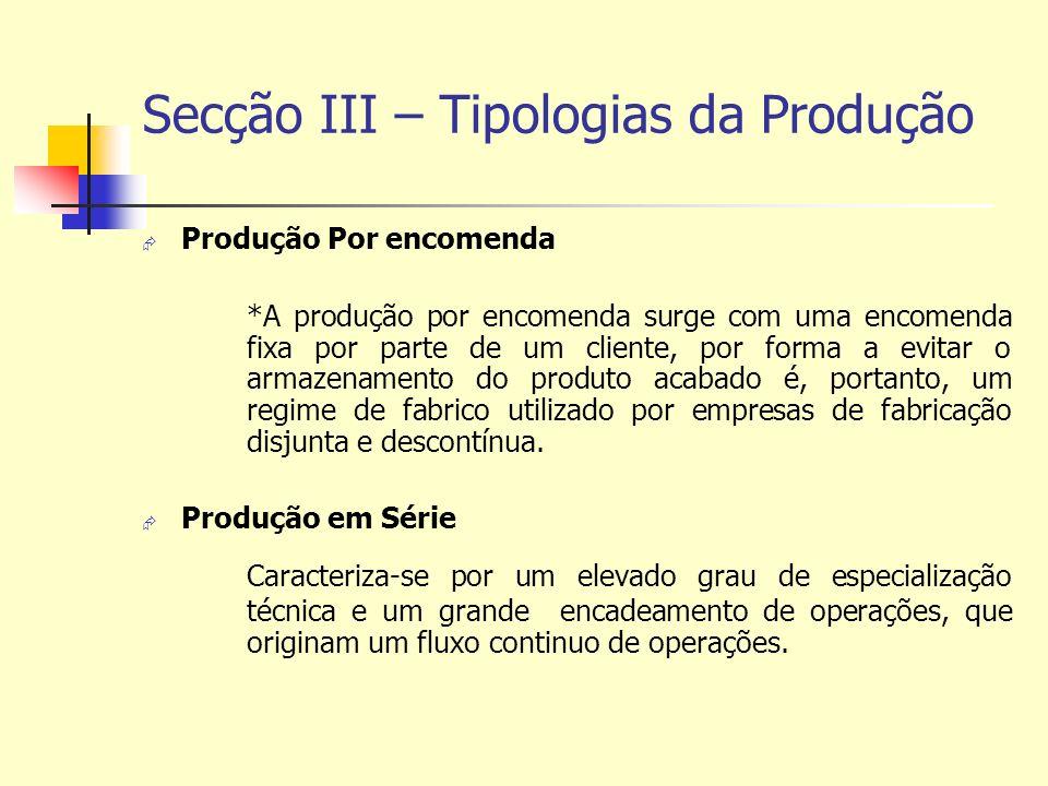 Secção III – Tipologias da Produção Produção Por encomenda *A produção por encomenda surge com uma encomenda fixa por parte de um cliente, por forma a