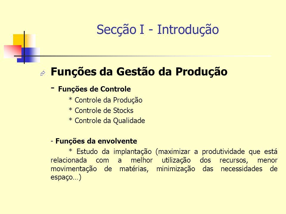 Secção I - Introdução Funções da Gestão da Produção - Funções de Controle * Controle da Produção * Controle de Stocks * Controle da Qualidade - Funçõe