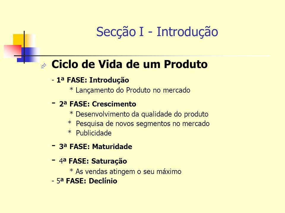 Secção I - Introdução Ciclo de Vida de um Produto - 1ª FASE: Introdução * Lançamento do Produto no mercado - 2ª FASE: Crescimento * Desenvolvimento da