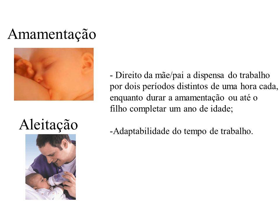 Amamentação Aleitação - Direito da mãe/pai a dispensa do trabalho por dois períodos distintos de uma hora cada, enquanto durar a amamentação ou até o