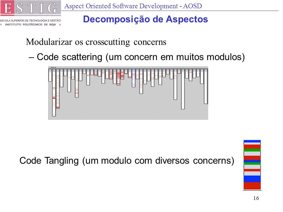 Aspect Oriented Software Development - AOSD 16 Decomposição de Aspectos Modularizar os crosscutting concerns – Code scattering (um concern em muitos modulos) Code Tangling (um modulo com diversos concerns)