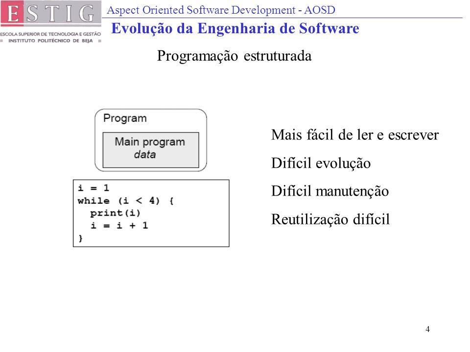 Aspect Oriented Software Development - AOSD 4 Mais fácil de ler e escrever Difícil evolução Difícil manutenção Reutilização difícil Programação estruturada Evolução da Engenharia de Software
