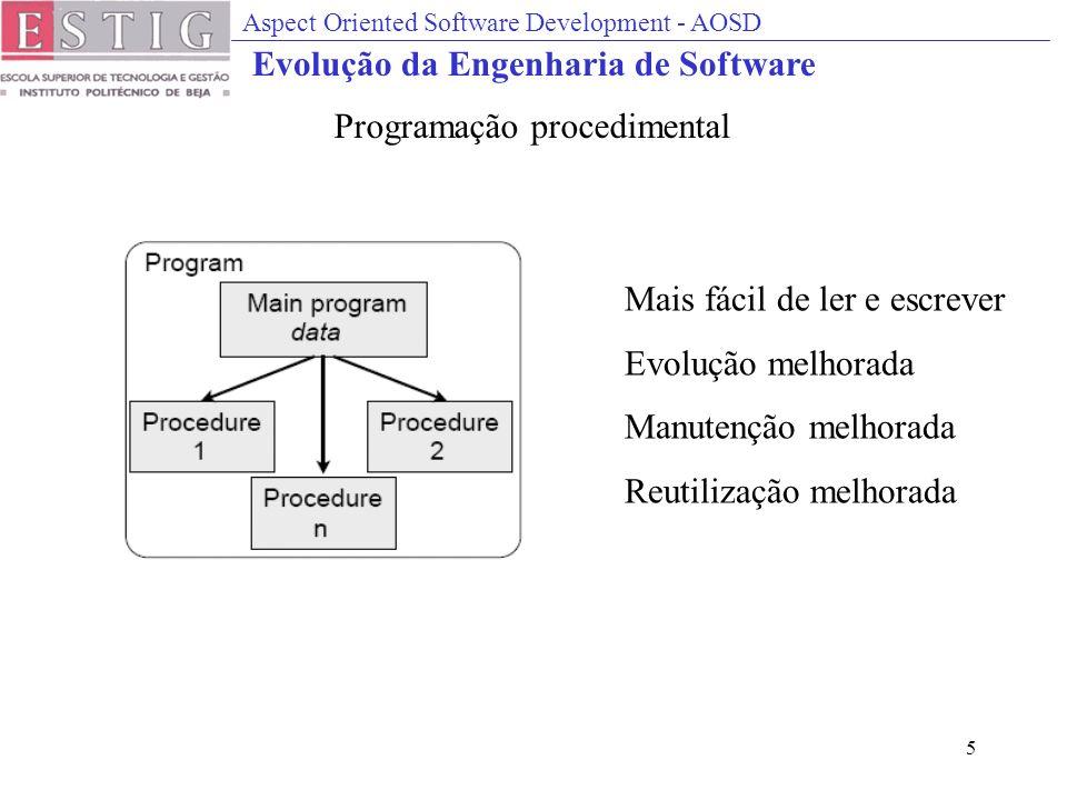 Aspect Oriented Software Development - AOSD 5 Mais fácil de ler e escrever Evolução melhorada Manutenção melhorada Reutilização melhorada Programação procedimental Evolução da Engenharia de Software