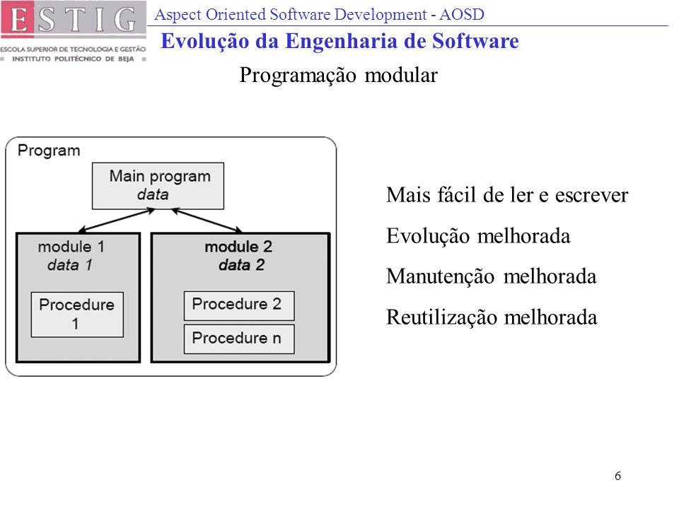 Aspect Oriented Software Development - AOSD 6 Mais fácil de ler e escrever Evolução melhorada Manutenção melhorada Reutilização melhorada Programação modular Evolução da Engenharia de Software