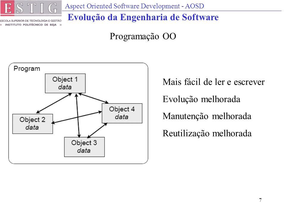 Aspect Oriented Software Development - AOSD 7 Mais fácil de ler e escrever Evolução melhorada Manutenção melhorada Reutilização melhorada Programação OO Evolução da Engenharia de Software