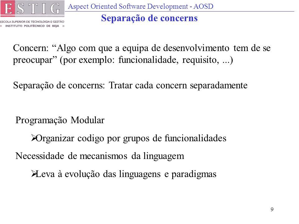 Aspect Oriented Software Development - AOSD 9 Separação de concerns Concern: Algo com que a equipa de desenvolvimento tem de se preocupar (por exemplo
