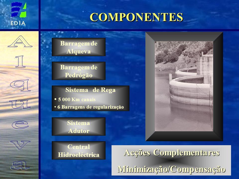 COMPONENTES Barragem de Alqueva Barragem de Pedrógão Sistema de Rega 5 000 Km canais 6 Barragens de regularização Central Hidroeléctrica Sistema Aduto
