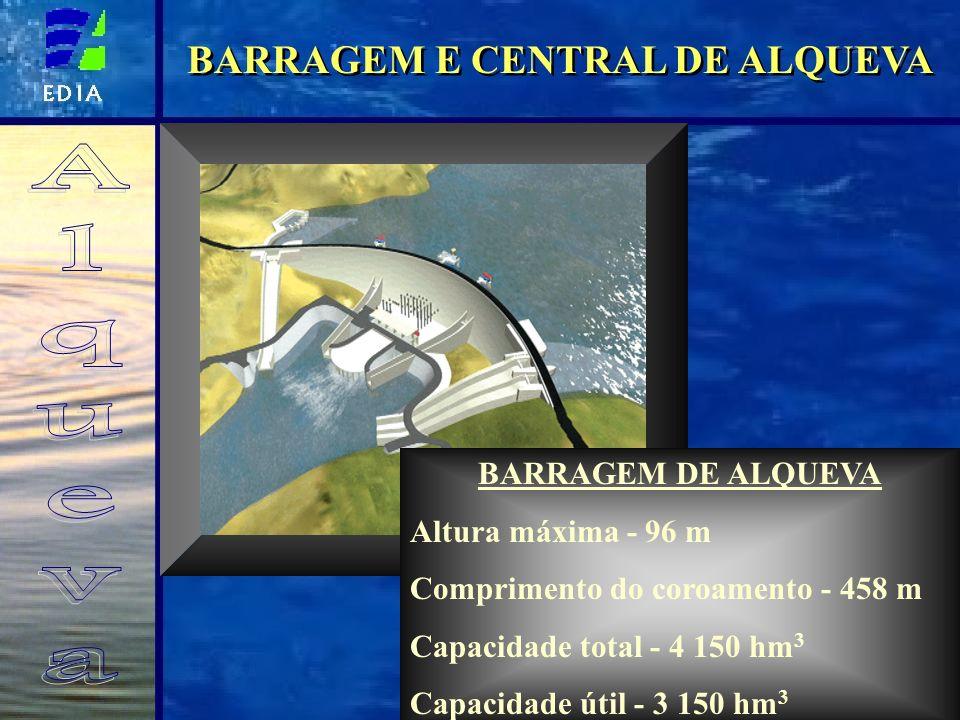 BARRAGEM E CENTRAL DE ALQUEVA BARRAGEM DE ALQUEVA Altura máxima - 96 m Comprimento do coroamento - 458 m Capacidade total - 4 150 hm 3 Capacidade útil