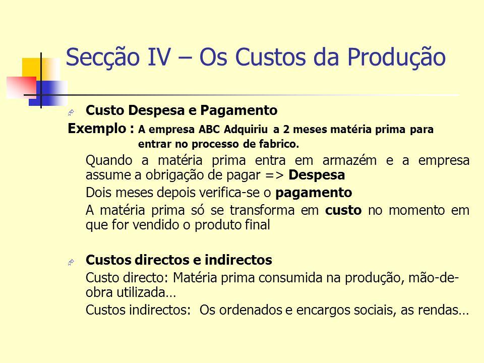 Secção IV – Os Custos da Produção Custo Despesa e Pagamento Exemplo : A empresa ABC Adquiriu a 2 meses matéria prima para entrar no processo de fabric