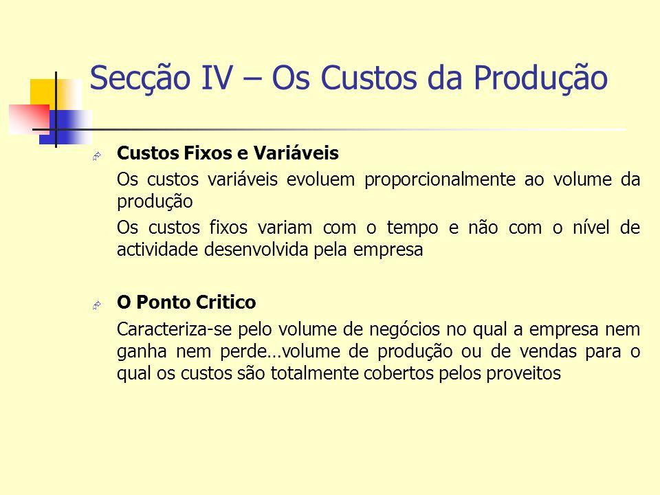 Secção IV – Os Custos da Produção Custos Fixos e Variáveis Os custos variáveis evoluem proporcionalmente ao volume da produção Os custos fixos variam