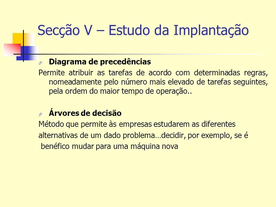 Secção V – Estudo da Implantação Diagrama de precedências Permite atribuir as tarefas de acordo com determinadas regras, nomeadamente pelo número mais elevado de tarefas seguintes, pela ordem do maior tempo de operação..