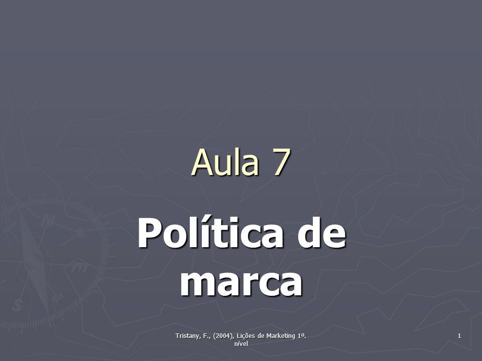 Tristany, F., (2004), Lições de Marketing 1º. nível 1 Aula 7 Política de marca