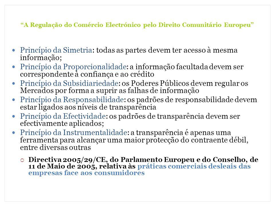 A Regulação do Comércio Electrónico pelo Direito Comunitário Europeu Princípio da Simetria: todas as partes devem ter acesso à mesma informação; Princ