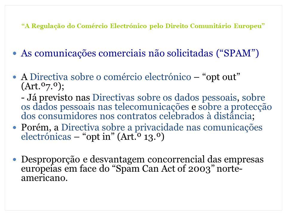 A Regulação do Comércio Electrónico pelo Direito Comunitário Europeu As comunicações comerciais não solicitadas (SPAM) A Directiva sobre o comércio el