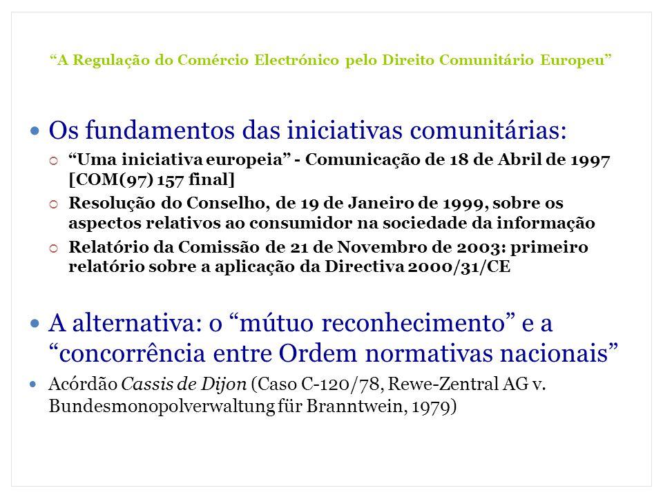 A Regulação do Comércio Electrónico pelo Direito Comunitário Europeu (3) A Prevenção e Resolução de Conflitos Incentivo à criação de Códigos de Conduta, com a participação das associações de consumidores e o controle da Comissão Europeia (Art.º 16.º) Garantia de acesso a meios extra-judiciais de resolução de conflitos (Art.º 17.º) Disciplina das acções judiciais tendente a uma rápida adopção de medidas (Art.º 18.º)