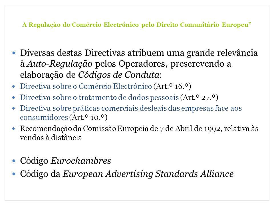 A Regulação do Comércio Electrónico pelo Direito Comunitário Europeu Diversas destas Directivas atribuem uma grande relevância à Auto-Regulação pelos