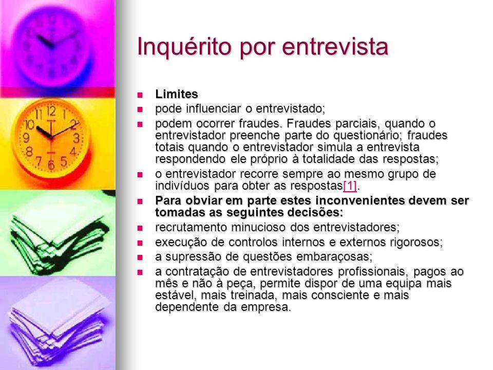 Inquérito por entrevista Limites Limites pode influenciar o entrevistado; pode influenciar o entrevistado; podem ocorrer fraudes.