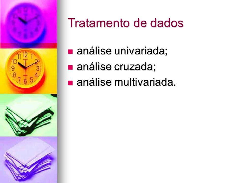 Tratamento de dados análise univariada; análise univariada; análise cruzada; análise cruzada; análise multivariada.