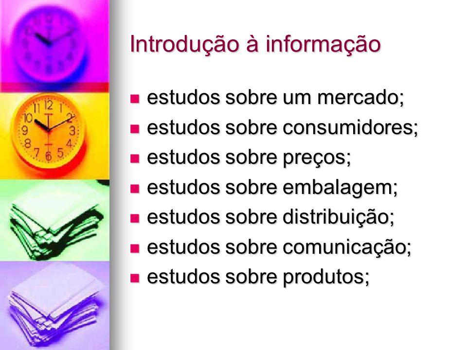 Introdução à informação estudos sobre um mercado; estudos sobre um mercado; estudos sobre consumidores; estudos sobre consumidores; estudos sobre preç