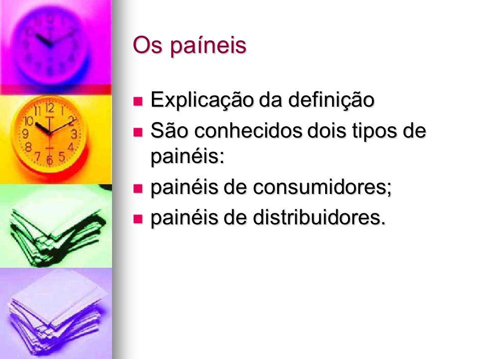 Os paíneis Explicação da definição Explicação da definição São conhecidos dois tipos de painéis: São conhecidos dois tipos de painéis: painéis de consumidores; painéis de consumidores; painéis de distribuidores.