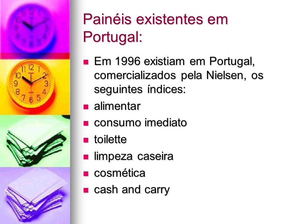 Painéis existentes em Portugal: Em 1996 existiam em Portugal, comercializados pela Nielsen, os seguintes índices: Em 1996 existiam em Portugal, comerc