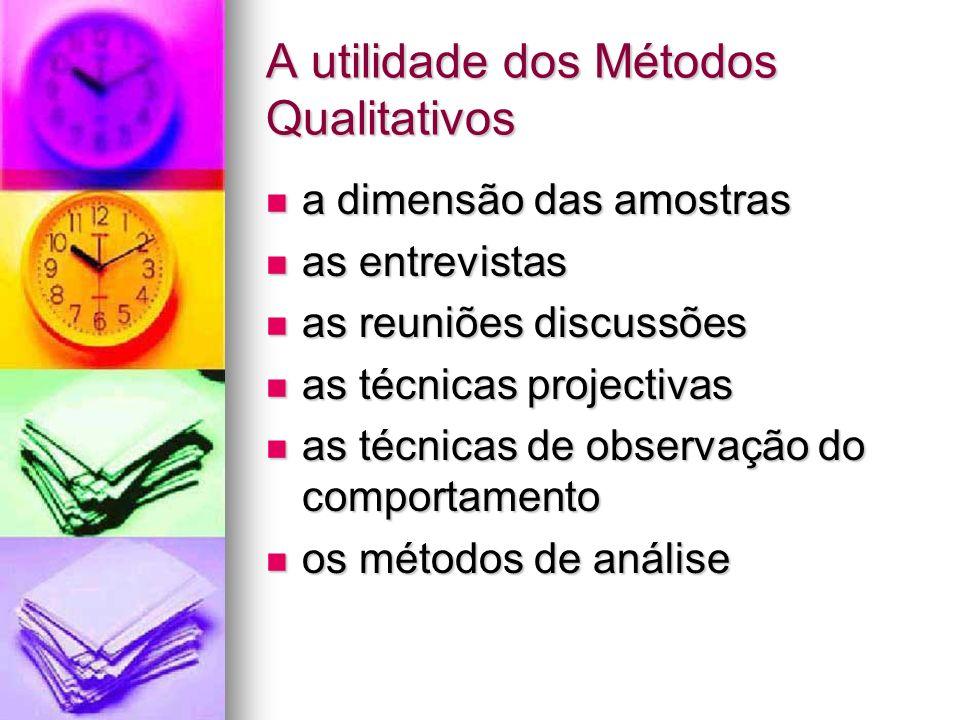 A utilidade dos Métodos Qualitativos a dimensão das amostras a dimensão das amostras as entrevistas as entrevistas as reuniões discussões as reuniões