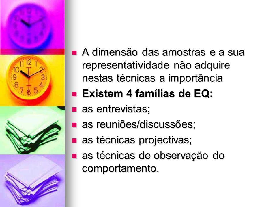 A dimensão das amostras e a sua representatividade não adquire nestas técnicas a importância A dimensão das amostras e a sua representatividade não ad