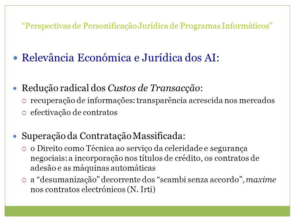Perspectivas de Personificação Jurídica de Programas Informáticos Relevância Económica e Jurídica dos AI: Redução radical dos Custos de Transacção: re