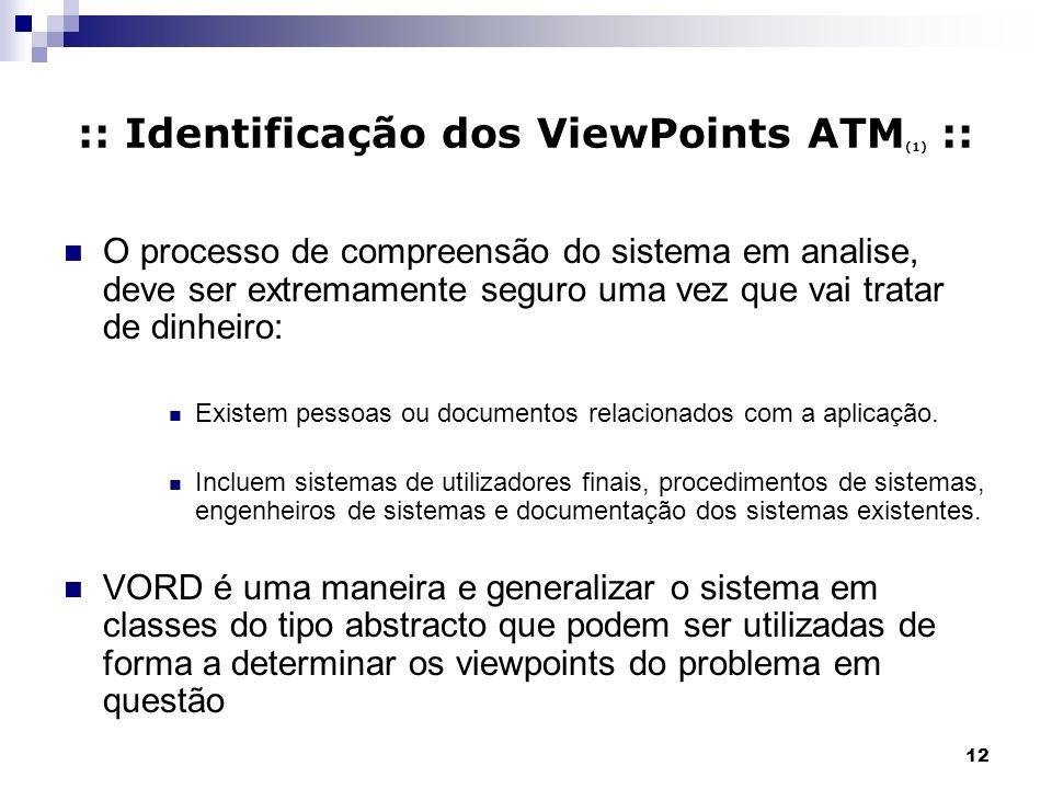 12 :: Identificação dos ViewPoints ATM (1) :: O processo de compreensão do sistema em analise, deve ser extremamente seguro uma vez que vai tratar de