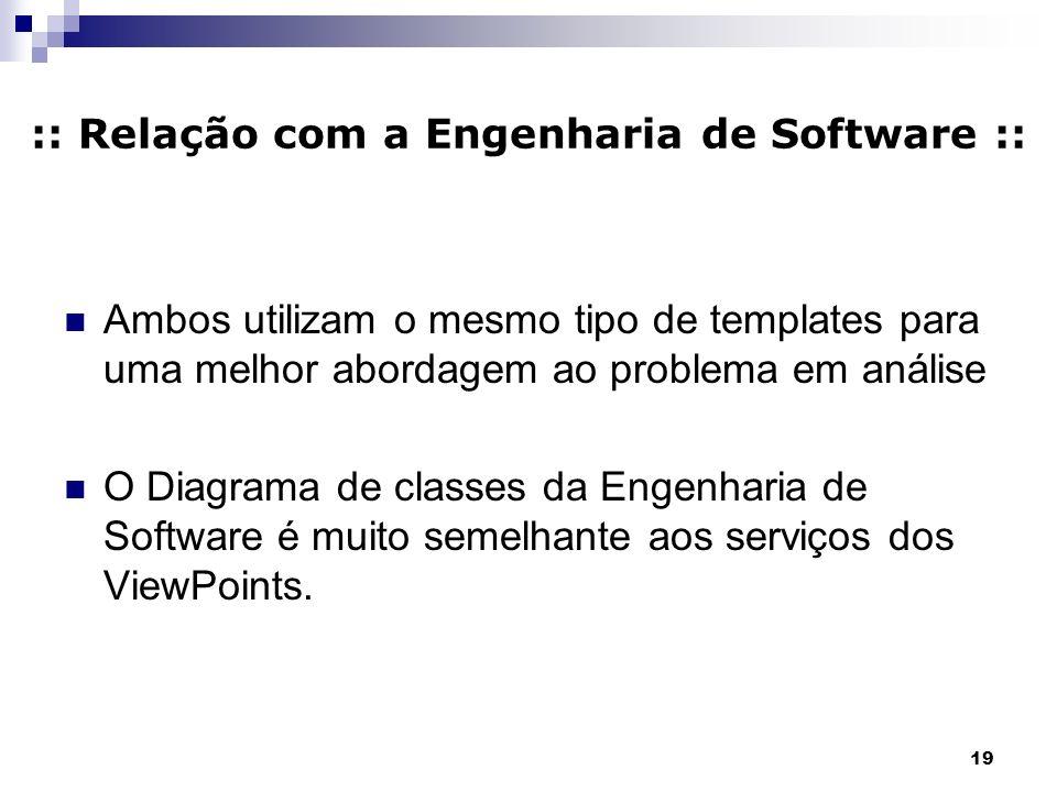 19 :: Relação com a Engenharia de Software :: Ambos utilizam o mesmo tipo de templates para uma melhor abordagem ao problema em análise O Diagrama de