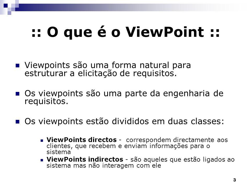 3 :: O que é o ViewPoint :: Viewpoints são uma forma natural para estruturar a elicitação de requisitos. Os viewpoints são uma parte da engenharia de