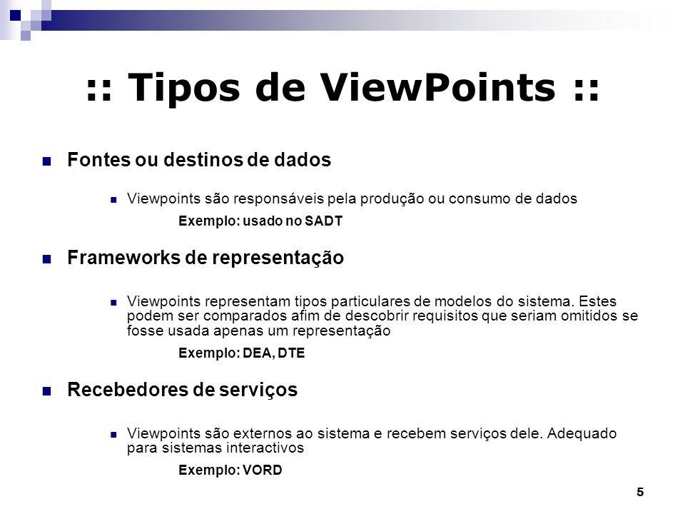 5 :: Tipos de ViewPoints :: Fontes ou destinos de dados Viewpoints são responsáveis pela produção ou consumo de dados Exemplo: usado no SADT Framework